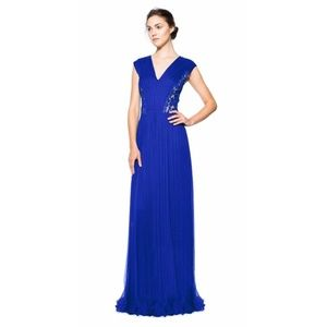 Tadashi Royal Blue Pleated Chiffon Lace Gown Sz 14